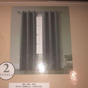 Grommet panel set of 2 38x84 new charcoal